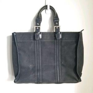 AGNES B. Voyage Canvas Black Tote Bag